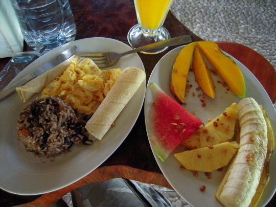 Local breakfast in La Fortuna, Costa Rica